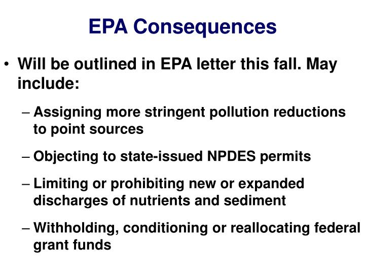 EPA Consequences