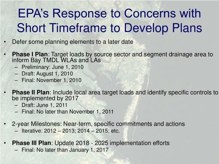 EPA's Response to Concerns with Short Timeframe to Develop Plans