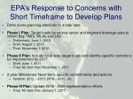 epa s response to concerns with short timeframe to develop plans