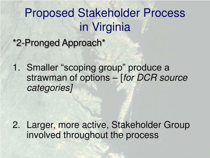 Proposed Stakeholder Process