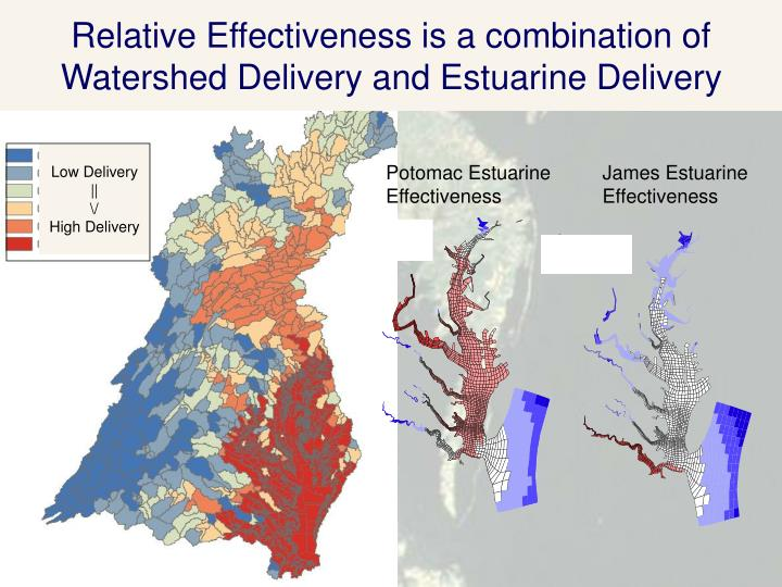 Relative Effectiveness is a combination of Watershed Delivery and Estuarine Delivery