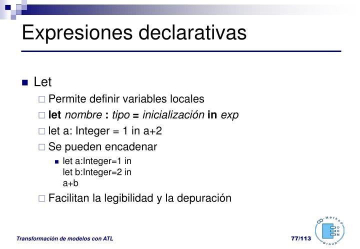 Expresiones declarativas