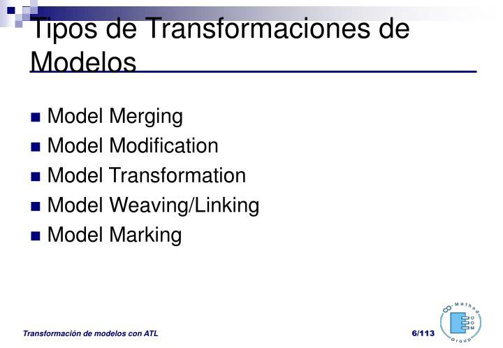Tipos de Transformaciones de Modelos