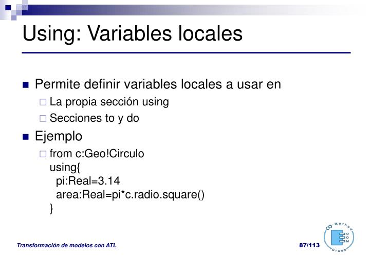 Using: Variables locales