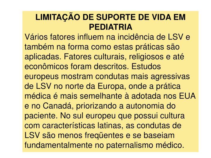LIMITAO DE SUPORTE DE VIDA EM PEDIATRIA