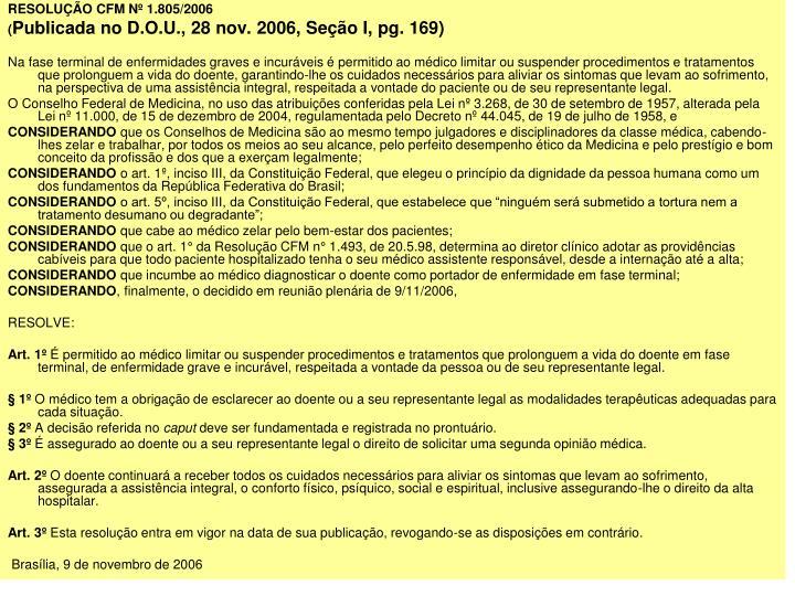RESOLUO CFM N 1.805/2006