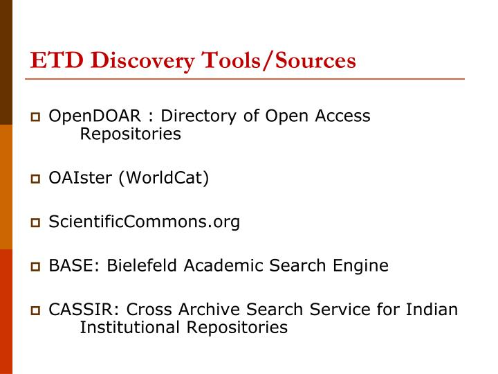 ETD Discovery Tools/Sources