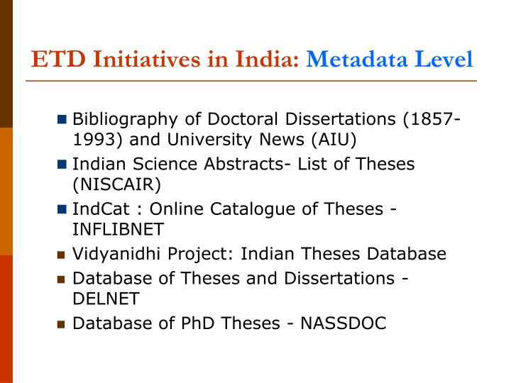 ETD Initiatives in India: