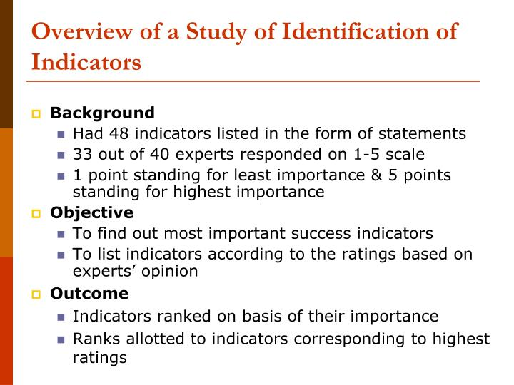 Overview of a Study of Identification of Indicators
