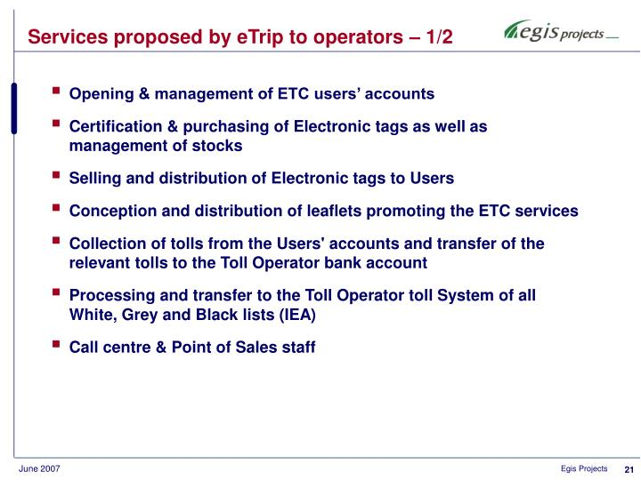 Services proposed by eTrip to operators – 1/2