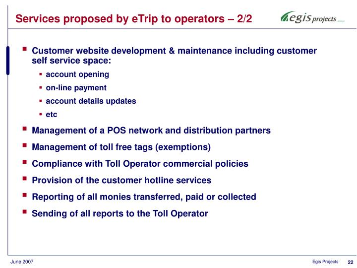 Services proposed by eTrip to operators – 2/2