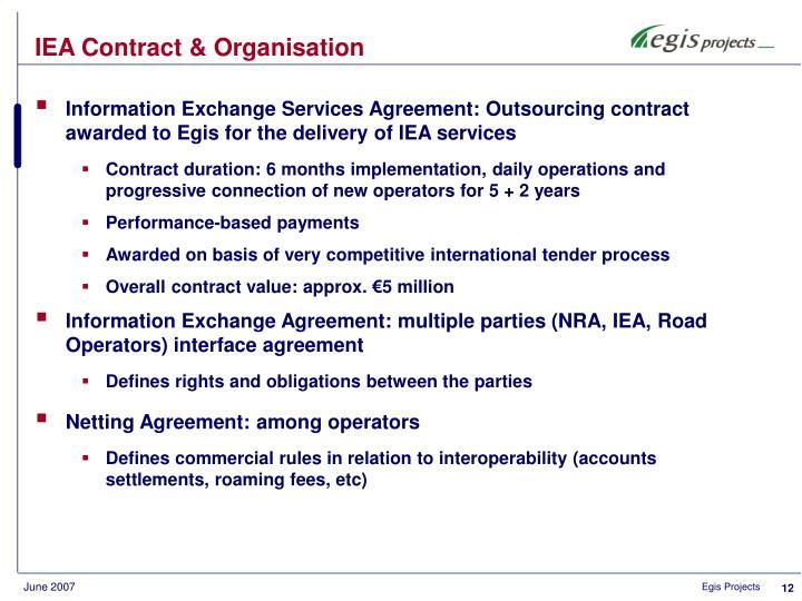 IEA Contract & Organisation