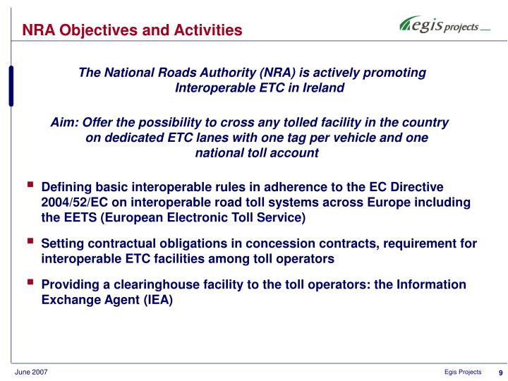 NRA Objectives and Activities
