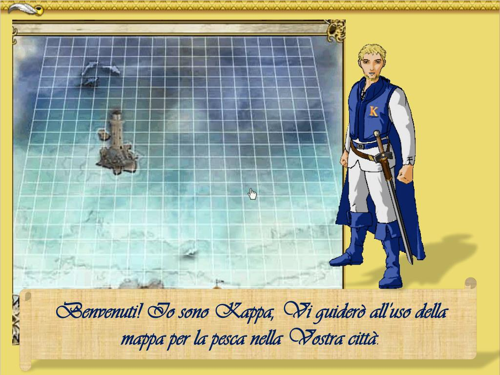 Benvenuti! Io sono Kappa, Vi guiderò all'uso della mappa per la pesca nella Vostra città