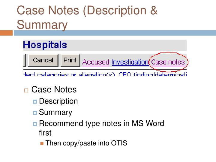 Case Notes (Description & Summary