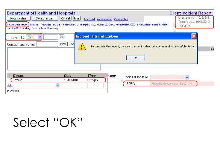 """Select """"OK"""""""