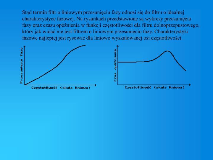 Stąd termin filtr o liniowym przesunięciu fazy odnosi się do filtru o idealnej charakterystyce fazowej. Na rysunkach przedstawione są wykresy przesunięcia fazy oraz czasu opóźnienia w funkcji częstotliwości dla filtru dolnoprzepustowego, który jak widać nie jest filtrem o liniowym przesunięciu fazy. Charakterystyki fazowe najlepiej jest rysować dla liniowo wyskalowanej osi częstotliwości.