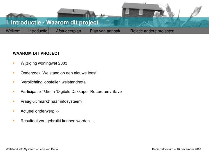 I introductie waarom dit project