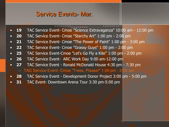 Service Events- Mar.