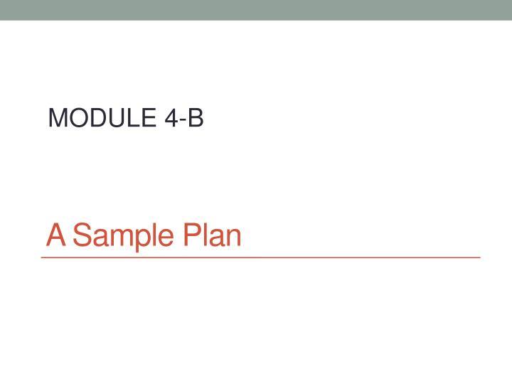 A Sample Plan