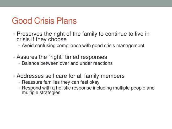 Good Crisis Plans