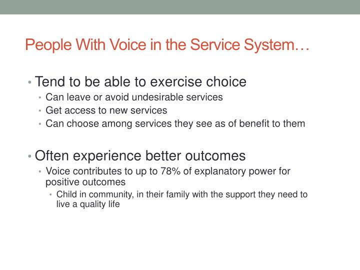 People With Voice in the Service System…