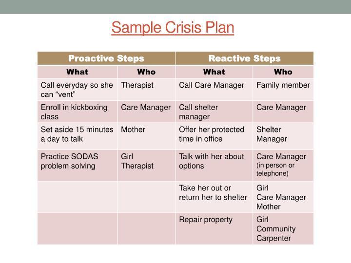 Sample Crisis Plan
