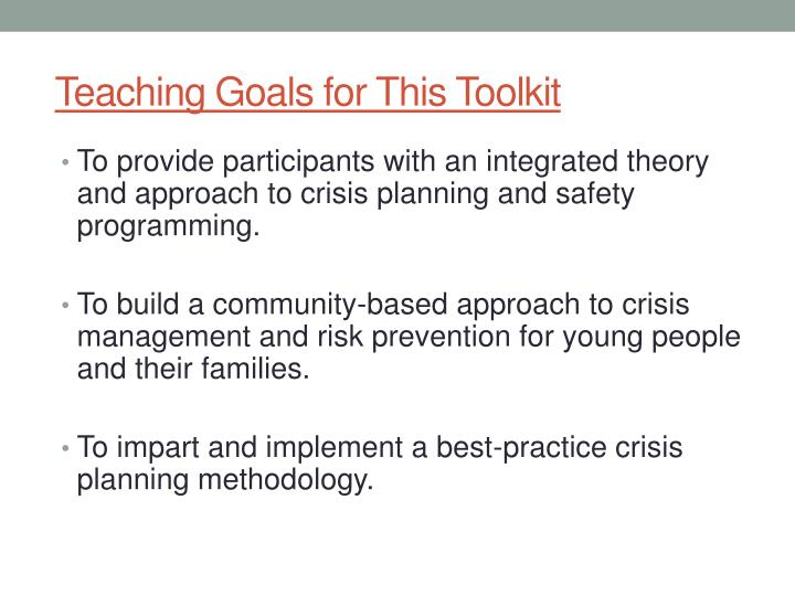 Teaching goals for this toolkit