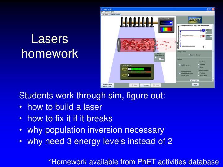 Lasers homework