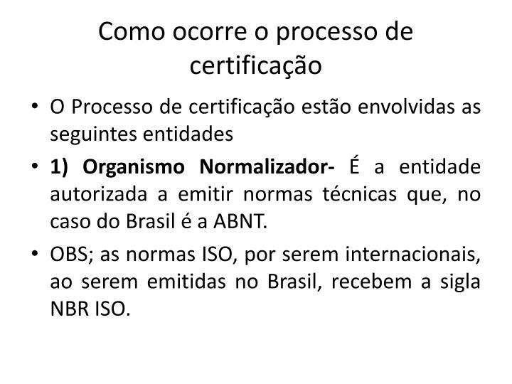 Como ocorre o processo de certificao