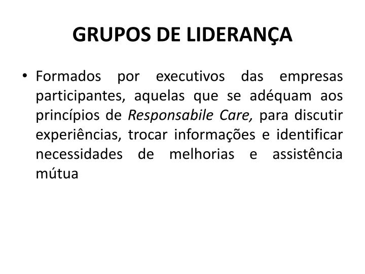 GRUPOS DE LIDERANA