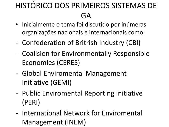 HISTRICO DOS PRIMEIROS SISTEMAS DE GA