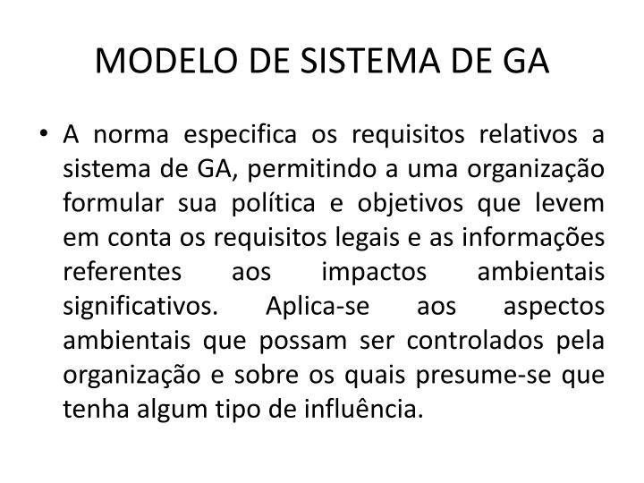 MODELO DE SISTEMA DE GA