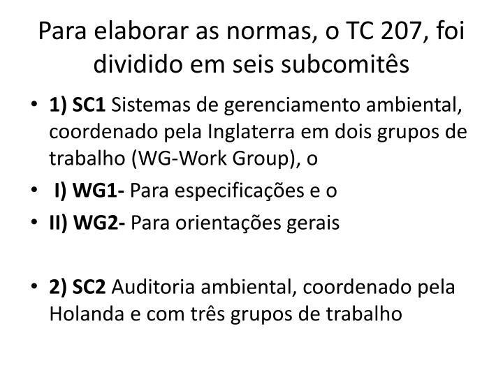 Para elaborar as normas, o TC 207, foi dividido em seis subcomits