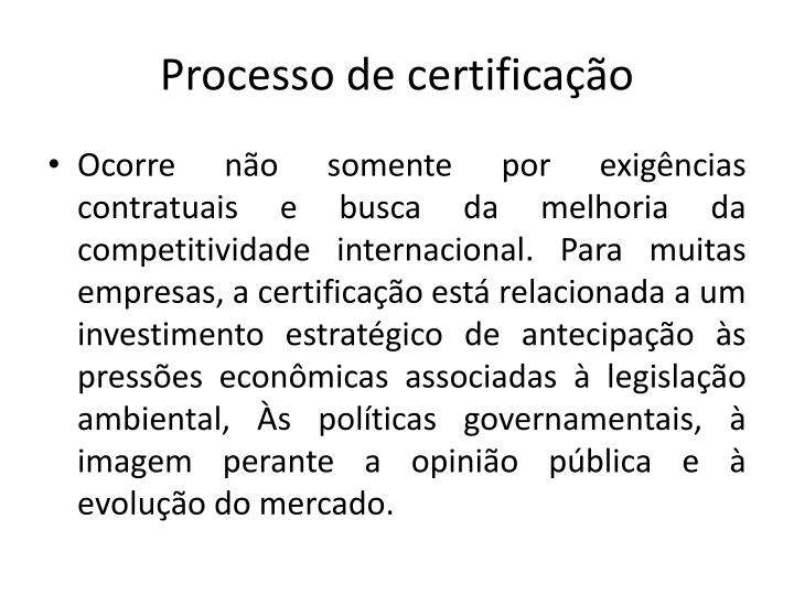 Processo de certificao
