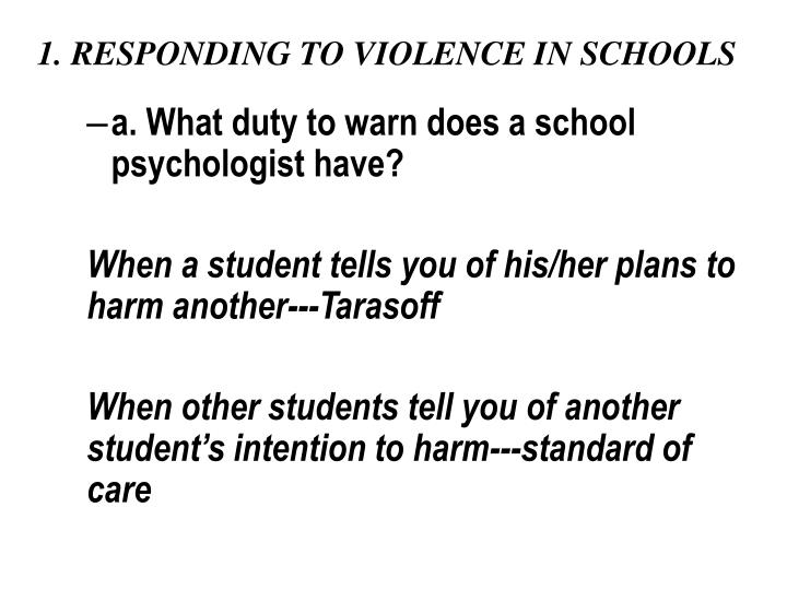 school violence the schools responsibility In order to make the various players more accountable with respect to bullying and violence in schools, on june 12, 2012, the national assembly passed bill 56, an act.