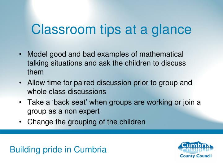 Classroom tips at a glance