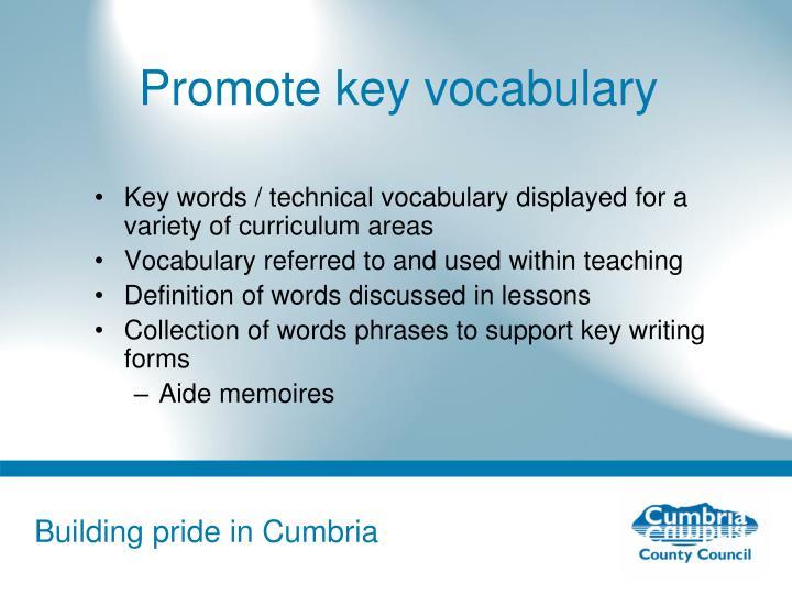 Promote key vocabulary