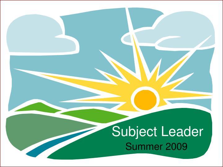 Subject Leader