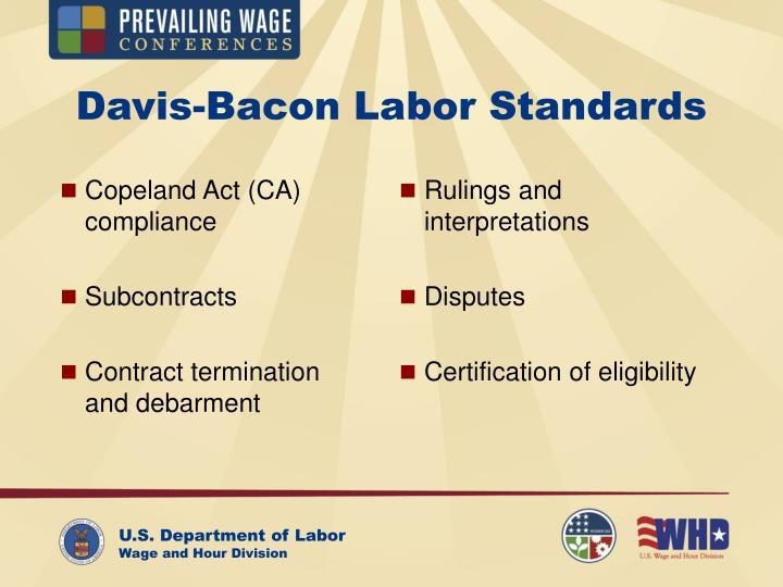 Copeland Act (CA) compliance