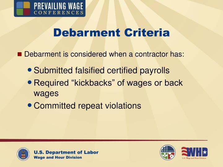 Debarment Criteria