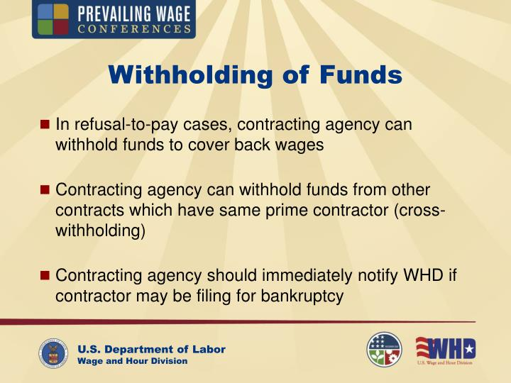 Withholding of Funds