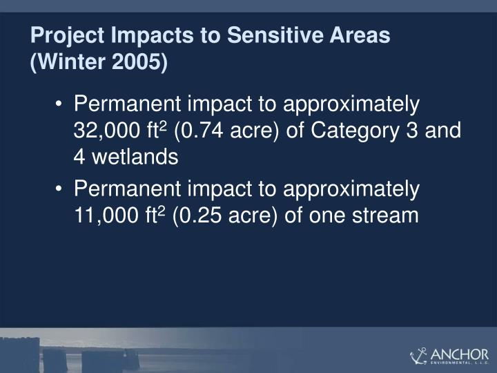 Project Impacts to Sensitive Areas (Winter 2005)