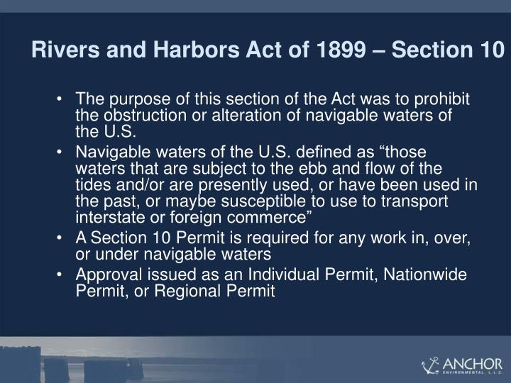 Rivers and Harbors Act of 1899 – Section 10