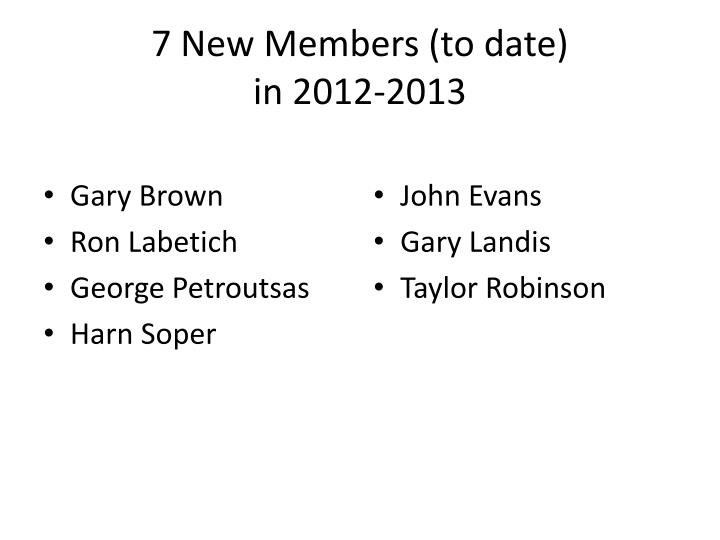 7 New Members (to date)