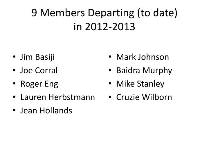 9 Members Departing (to date)