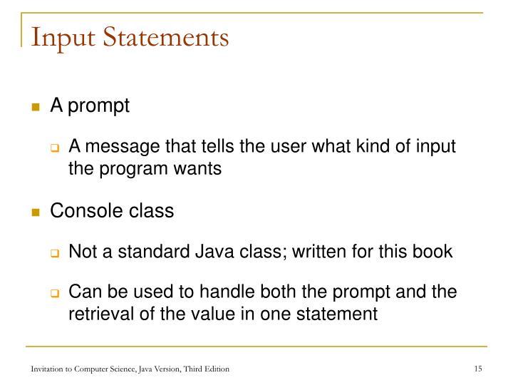 Input Statements