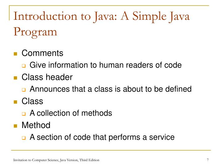 Introduction to Java: A Simple Java Program