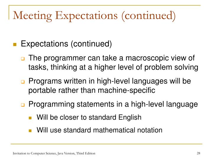 Meeting Expectations (continued)