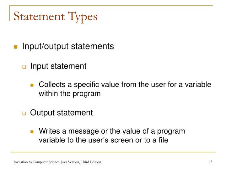 Statement Types